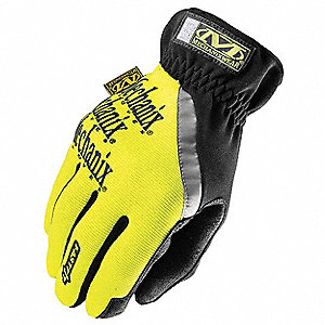 High-Visibility Mechanics Gloves, Synthetic Leather Palm Material, High Visibility Yellow, L, PR 1