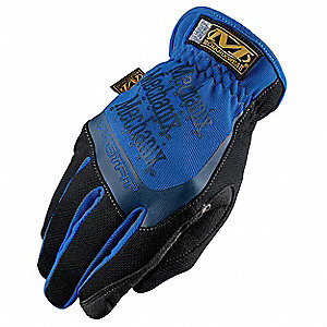 Leather Mechanics Gloves, Synthetic Leather Palm Material, Blue, 2XL, PR 1