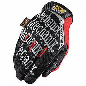 General Utility Mechanics Gloves, Synthetic Leather Palm Material, Black, L, PR 1