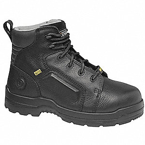 "6""H Men's Work Boots, Composite Toe Type, Leather Upper Material, Black, Size 8M"
