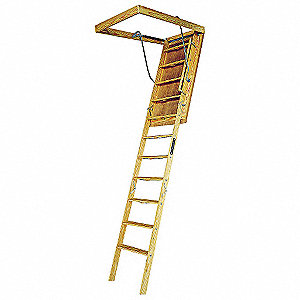 "Attic Ladder, Wood, 350 lb. Load Capacity, 8 ft. 9"" to 10 ft. Ceiling Height Range"