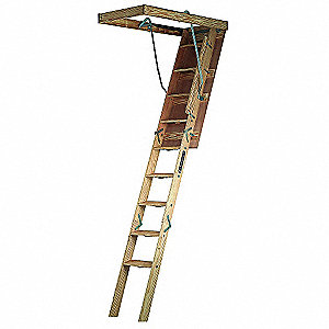 "Attic Ladder, Wood, 300 lb. Load Capacity, 8 ft. 9"" to 10 ft. Ceiling Height Range"