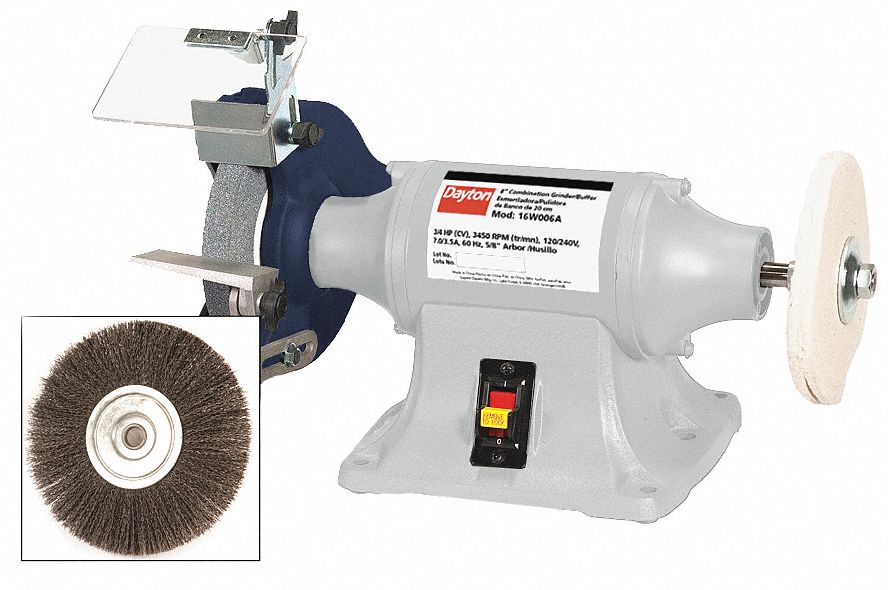 Bench Grinder,  For Max. Wheel Dia. 8 in,  For Max. Wheel Thickness 3/4 in,  Grinding Wheel Grit 36