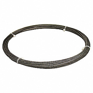 "Cable, 3/32"" Outside Dia., Galvanized Steel, 25 ft. Length, 7 x 19, Working Load Limit: 200 lb."