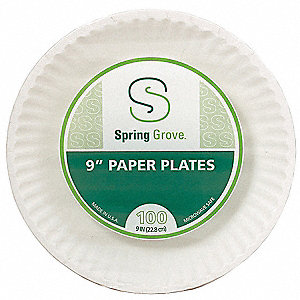 "9"" Round Disposable Plate, White&#x3b; PK1000"