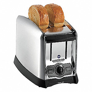 "13.63"" x 9.75"" 2 Slices Commercial Toaster, Brushed Crome"