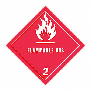 DOT LABEL,4 IN. H,FLAMMABLE GAS,PK