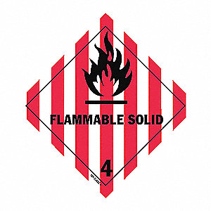 DOT LABEL,4 IN. H,FLAMMABLE SOLID,P