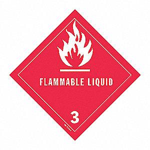 DOT LABEL,4 IN. H,FLAMMABLE LIQUID,