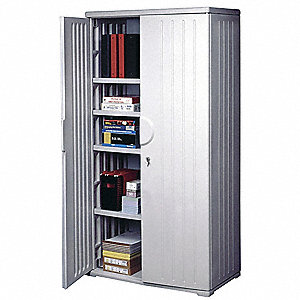 Storage Cabinet,HDPE,Platinum,72 In