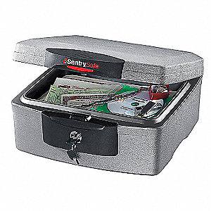 "15-1/4"" x 14-7/8"" x 7-1/2"" Fire Safe, Charcoal/Gray&#x3b; Holds CD's, DVD's, Memory Sticks, USB Drives, D"