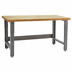 "Bolted Workbench, Butcher Block, 36"" Depth, 30"" to 36"" Height, 36"" Width, 1600 lb. Load Capacity"