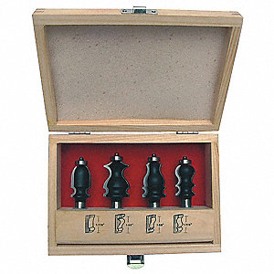 Router Bit Set,Face Molding,1/2S, 4 Pc
