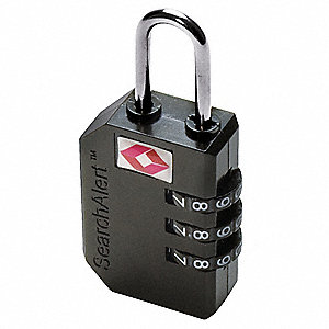 "3-Dial Luggage and Briefcase Padlock, 1""H x 1/2""W Shackle, TSA Approved, Black/Silver"