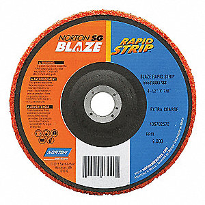 "4-1/2"" x 1"" Depressed Center Grinding Wheel, Ceramic, 5/8""-11 Arbor Size, Type 27, Blaze Rapid Strip"