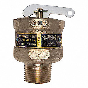 SAFETY RELIEF VALVE,3/4 X TOP,15 PS