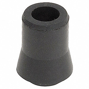 "Round Slip-On Furniture Protective Leg Tips, Gray Rubber, 3/8"" Leg Outside Dia., 10PK"