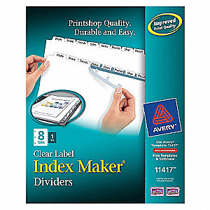 INDEX TAB SET,PRINT-ON,8 TABS,WHITE