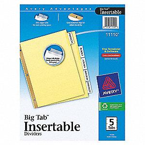 INDEX TAB SET,INSERTABLE,5 TABS,CLE