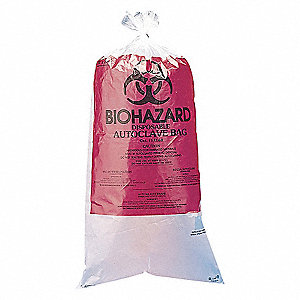 AUTOCLAVABLE BIOHAZARD BAG,RED,PK 1