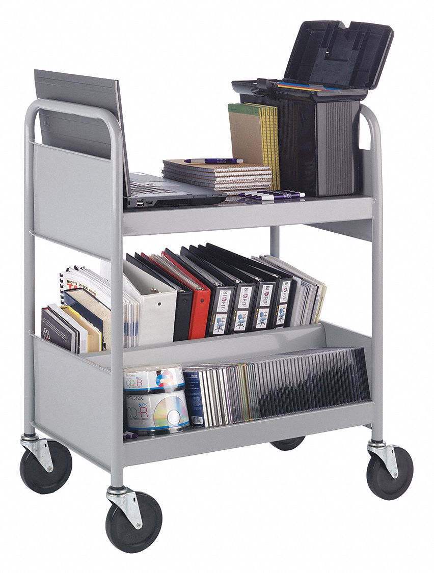 16 Gauge Steel Cart,One Flat,One Dbl Sloped Shelf,Gry with 2 Sloped, Flat Shelves, Gray