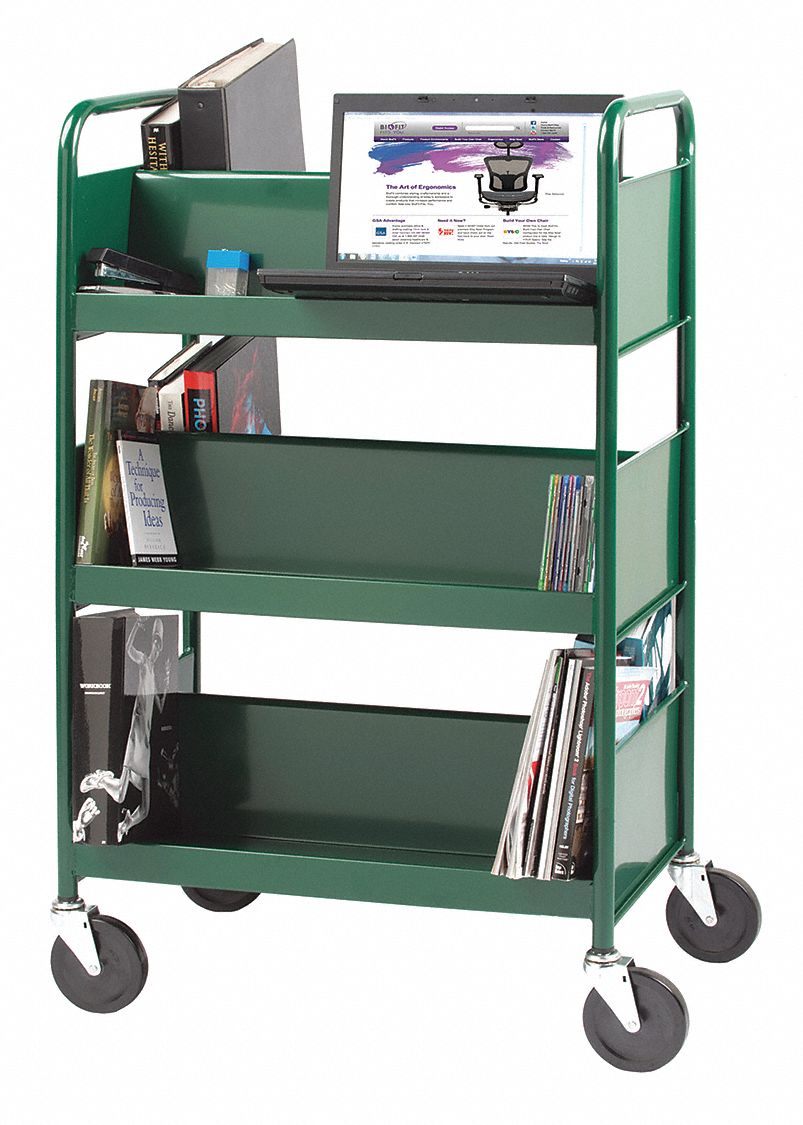 16 Gauge Steel Cart,Three Dbl Sloping Shelves,Gray with 3 Sloped Shelves, Gray