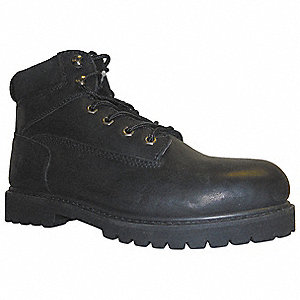 "6""H Men's Work Boots, Steel Toe Type, Oily Full-Grain Leather Upper Material, Black, Size 9R"