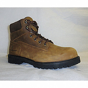 "6""H Men's Work Boots, Plain Toe Type, Crazy Horse Leather Upper Material, Brown, Size 7"