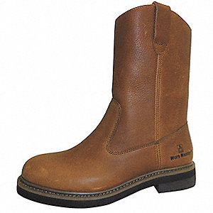 "9""H Men's Wellington Boots, Steel Toe Type, Tumbled Full-Grain Leather Upper Material, Brown, Size 1"