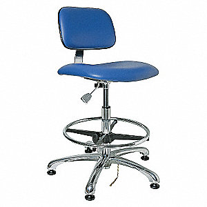 ESD CLEANROOM CHAIR,BLUE,23-33IN