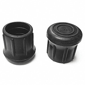"Round Slip-On Furniture Protective Leg Tips, Black Rubber, 1-1/4"" Leg Outside Dia., 5PK"