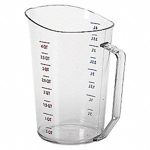 LIQUID MEASURING CUP,4 QT.,CLEAR