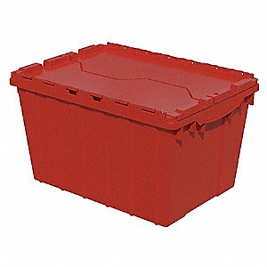"Attached Lid Container, Red, 12-1/2""H x 21-1/2""L x 15""W, 1EA"