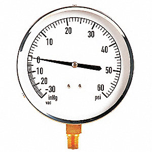 "4-1/2"" Mechanical Contractors Compound Gauge, -30 to 0 to 60 In. Hg/psi"