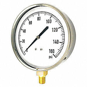 "4-1/2"" Mechanical Contractors Pressure Gauge, 0 to 160 psi Range"