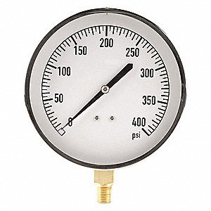 "4-1/2"" Mechanical Contractors Pressure Gauge, 0 to 400 psi"