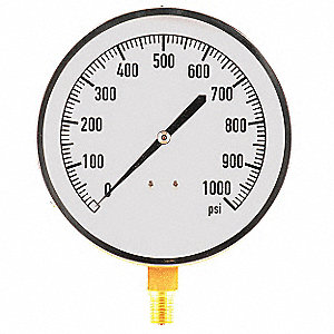 "4-1/2"" Mechanical Contractors Pressure Gauge, 0 to 1000 psi"