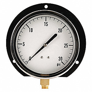 "4-1/2"" Mechanical Contractors Pressure Gauge, 0 to 30 psi"