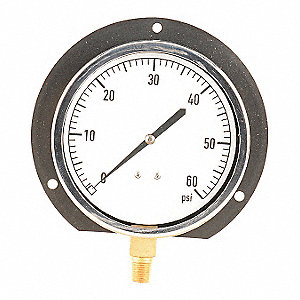 "4-1/2"" Mechanical Contractors Pressure Gauge, 0 to 60 psi"