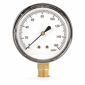 "2-1/2"" Low Pressure Pressure Gauge, 0 to 160 oz./sq. in."