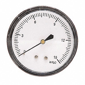 PRESSURE GAUGE,2 1/2 IN,0 TO 15 IN