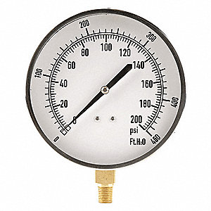"4-1/2"" Altitude Pressure Gauge, 0 to 200 psi"