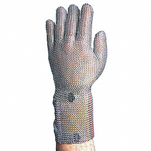 Stainless Steel Mesh Cut Resistant Gloves, Silver, M, EA 1