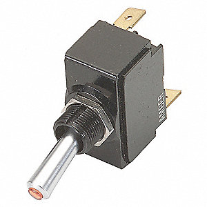 LIGHTED TOGGLE SWITCH,DPDT,15A,ON/O