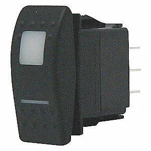 LIGHTED ROCKER SWITCH,DPDT,20A,ON/O