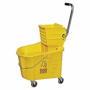 MOP BUCKET AND WRINGER,35 QT.,YELLO
