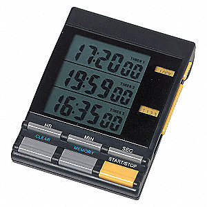 TRIPLE DISPLAY TIMER, 1/2 IN. LCD