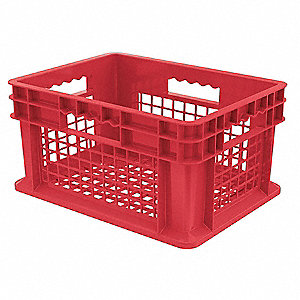 "Straight Wall Container, Red, 8-1/4""H x 15-3/4""L x 11-3/4""W, 1EA"