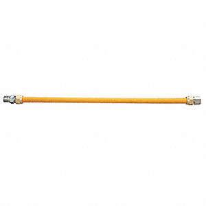 "Gas Connector, Stainless Steel w/ Safety Shield Yellow Coating, 24""L x 3/8"""