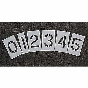 Pavement Stencil,4 in,Number Kit,1/16